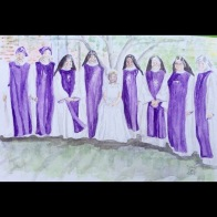 "Original watercolor of ""Sissy's"" First Communion"